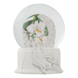 White Orchids Calligraphy Snow Globe