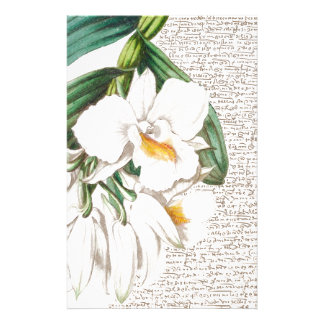 White Orchids Calligraphy Stationery