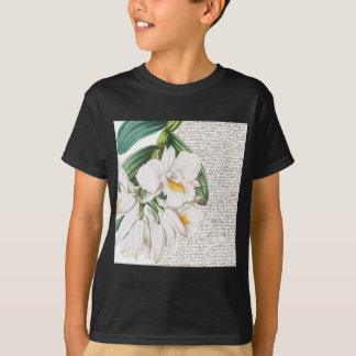 White Orchids Calligraphy T-Shirt