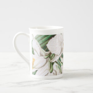 White Orchids Calligraphy Tea Cup