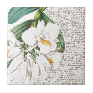 White Orchids Calligraphy Tile