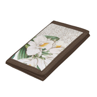 White Orchids Calligraphy Trifold Wallet