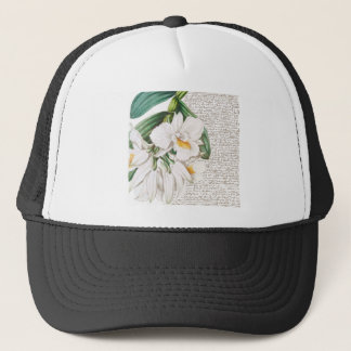 White Orchids Calligraphy Trucker Hat
