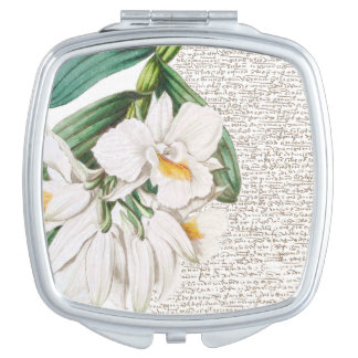 White Orchids Calligraphy Vanity Mirror