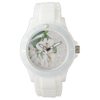 White Orchids Calligraphy Watch