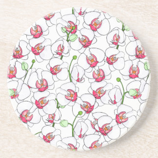 White orchids. drink coaster