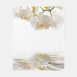 White Orchids Fleece Blanket