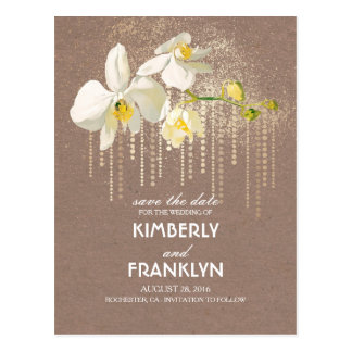 White Orchids Gold Glam Vintage Save the Date Postcard