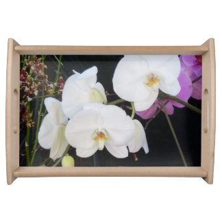 White Orchids Serving Tray