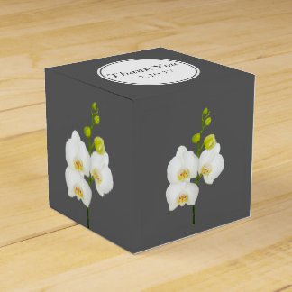 White Orchids Wedding Thank You Favor Box