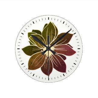 White Outline Flower Subtle Tones Wall Clock