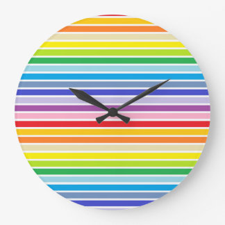 White Outlined Broader Spectrum Rainbow Stripes Large Clock