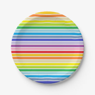 White Outlined Broader Spectrum Rainbow Stripes Paper Plate