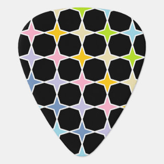 White Outlined Pastel Rainbow 4 Point Stars Guitar Pick