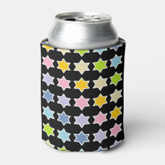White Outlined Pastel Rainbow 6 Point Stars Can Cooler