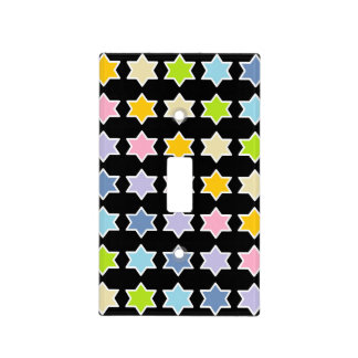 White Outlined Pastel Rainbow 6 Point Stars Light Switch Cover