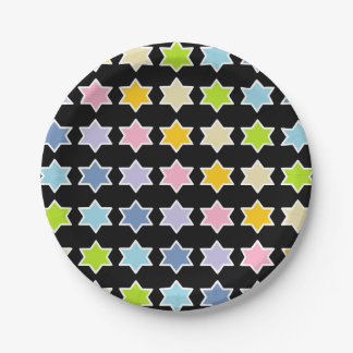 White Outlined Pastel Rainbow 6 Point Stars Paper Plate