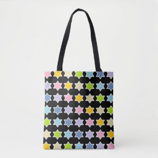 White Outlined Pastel Rainbow 6 Point Stars Tote Bag