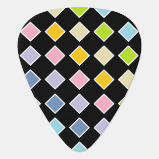 White Outlined Pastel Rainbow Diamonds Guitar Pick