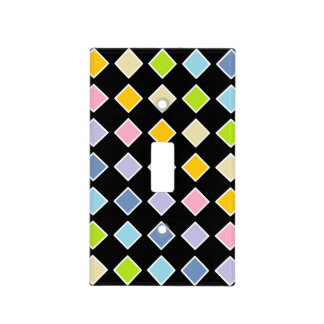 White Outlined Pastel Rainbow Diamonds Light Switch Cover