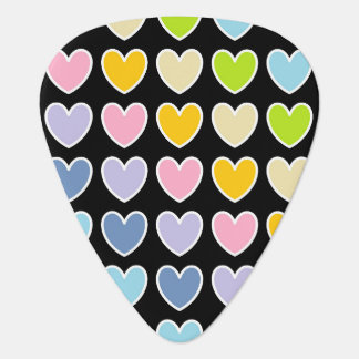 White Outlined Pastel Rainbow Hearts Guitar Pick
