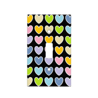 White Outlined Pastel Rainbow Hearts Light Switch Cover
