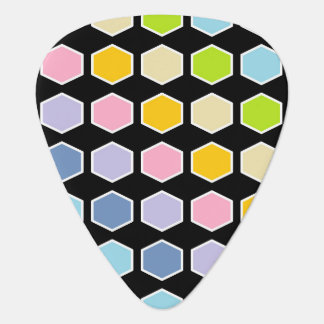 White Outlined Pastel Rainbow Hexagons Guitar Pick