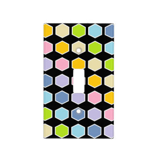 White Outlined Pastel Rainbow Hexagons Light Switch Cover