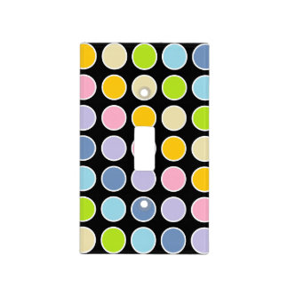White Outlined Pastel Rainbow Polka Dots Light Switch Cover