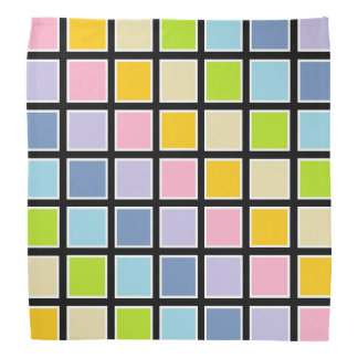 White Outlined Pastel Rainbow Squares Kerchiefs