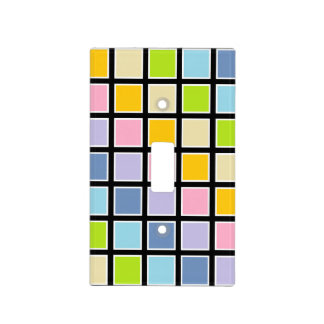 White Outlined Pastel Rainbow Squares Light Switch Cover