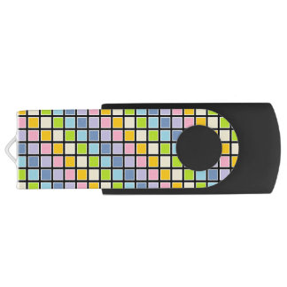 White Outlined Pastel Rainbow Squares USB Flash Drive