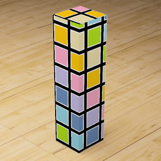 White Outlined Pastel Rainbow Squares Wine Bottle Boxes