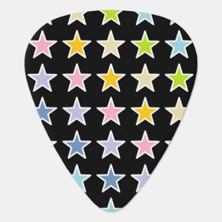 White Outlined Pastel Rainbow Stars Guitar Pick