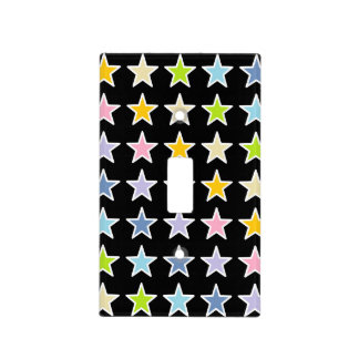 White Outlined Pastel Rainbow Stars Light Switch Cover