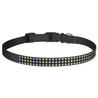 White Outlined Pastel Rainbow Stars Pet Collar