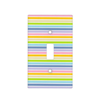 White Outlined Pastel Rainbow Stripes Light Switch Cover