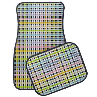 White Outlined Pastel Rainbow Weave Car Mat