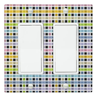 White Outlined Pastel Rainbow Weave Light Switch Cover