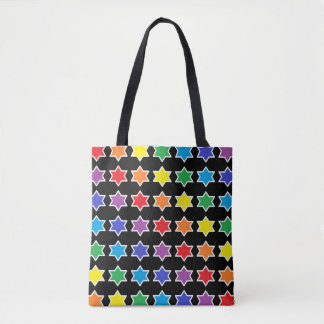 White Outlined Rainbow 6 Point Stars Tote Bag