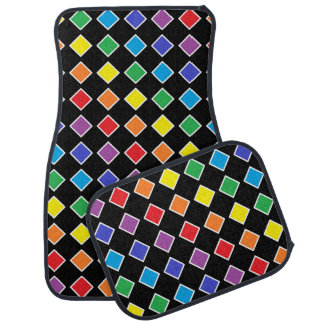 White Outlined Rainbow Diamonds Floor Mat