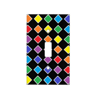 White Outlined Rainbow Diamonds Light Switch Cover