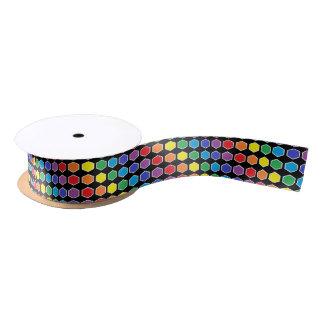 White Outlined Rainbow Hexagons Satin Ribbon