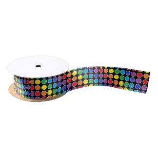 White Outlined Rainbow Polka Dots Satin Ribbon