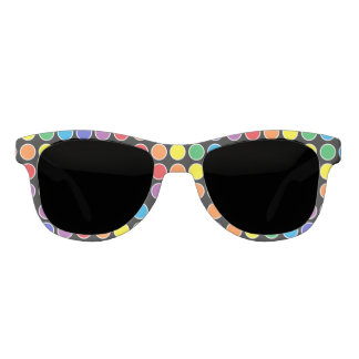 White Outlined Rainbow Polka Dots Sunglasses