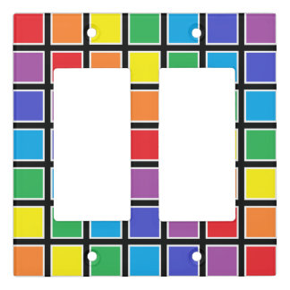 White Outlined Rainbow Squares Light Switch Cover