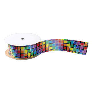 White Outlined Rainbow Squares Satin Ribbon