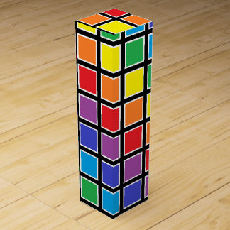 White Outlined Rainbow Squares Wine Bottle Boxes