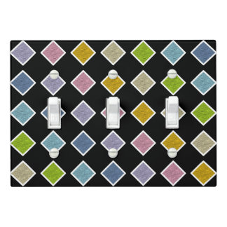 White Outlined Static Pastel Rainbow Diamonds Light Switch Cover