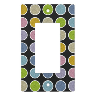White Outlined Static Pastel Rainbow Polka Dots Light Switch Cover